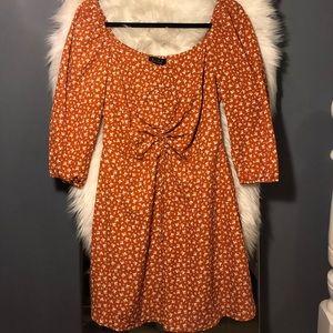 floral print short milkmaid dress-burnt orange